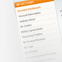 Modificare i Link nella pagina Account di Magento