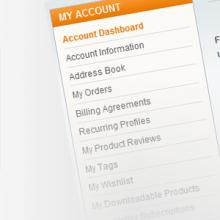 Modificare i Link nella pagina Account di Magento