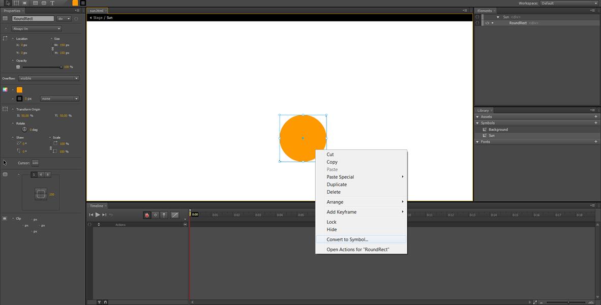 Adobe Edge Animate Tutorial: Symbol Animation #3