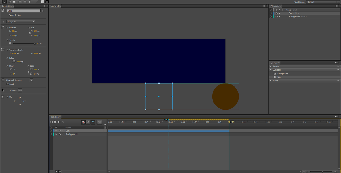 Adobe Edge Animate Tutorial: Symbol Animation #7
