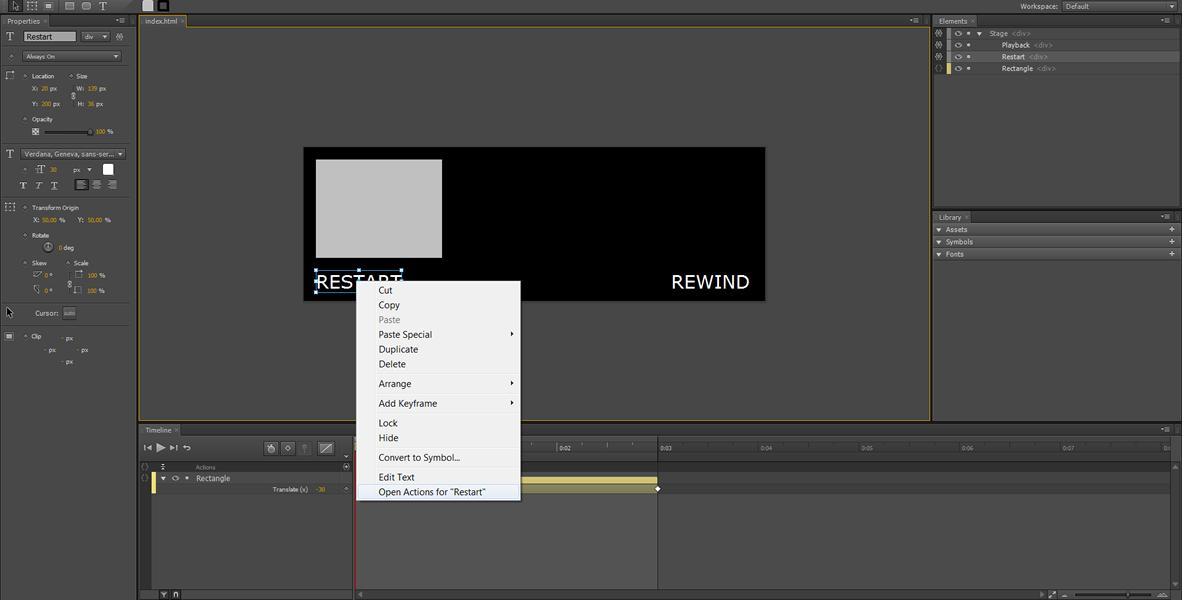 Adobe Edge Tutorial: Restart, Rewind e Loop infinito #1