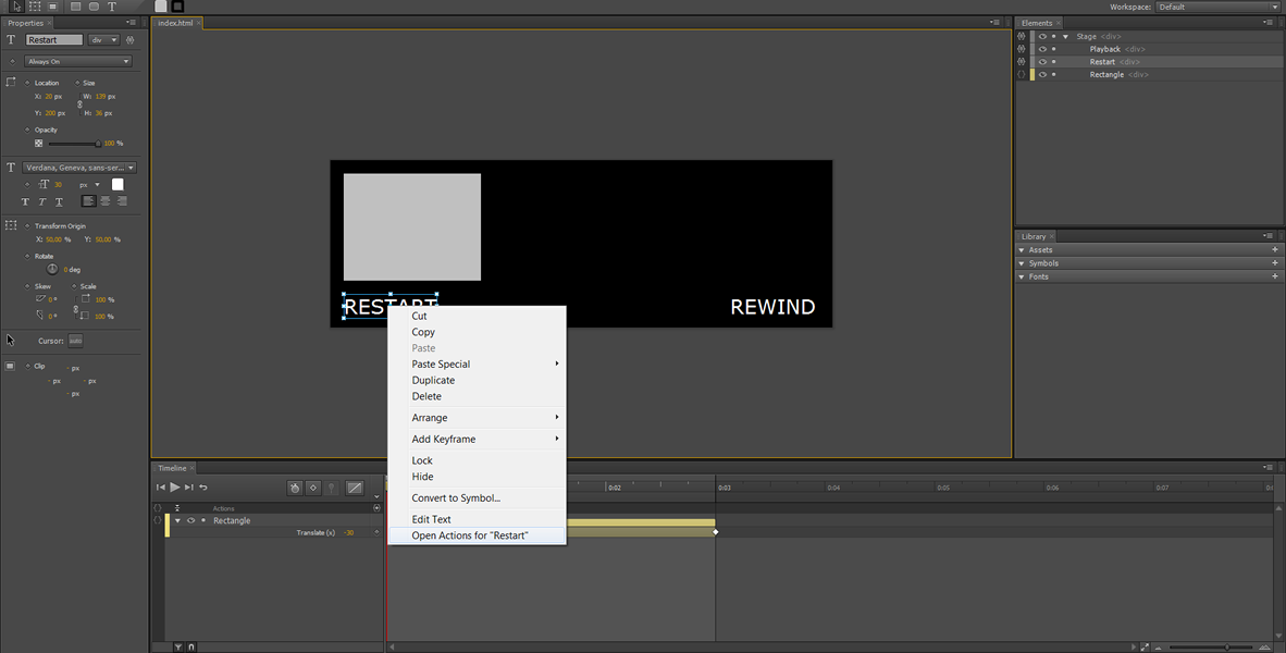 Adobe Edge Tutorial: Restart, Rewind and infinite Loop #1