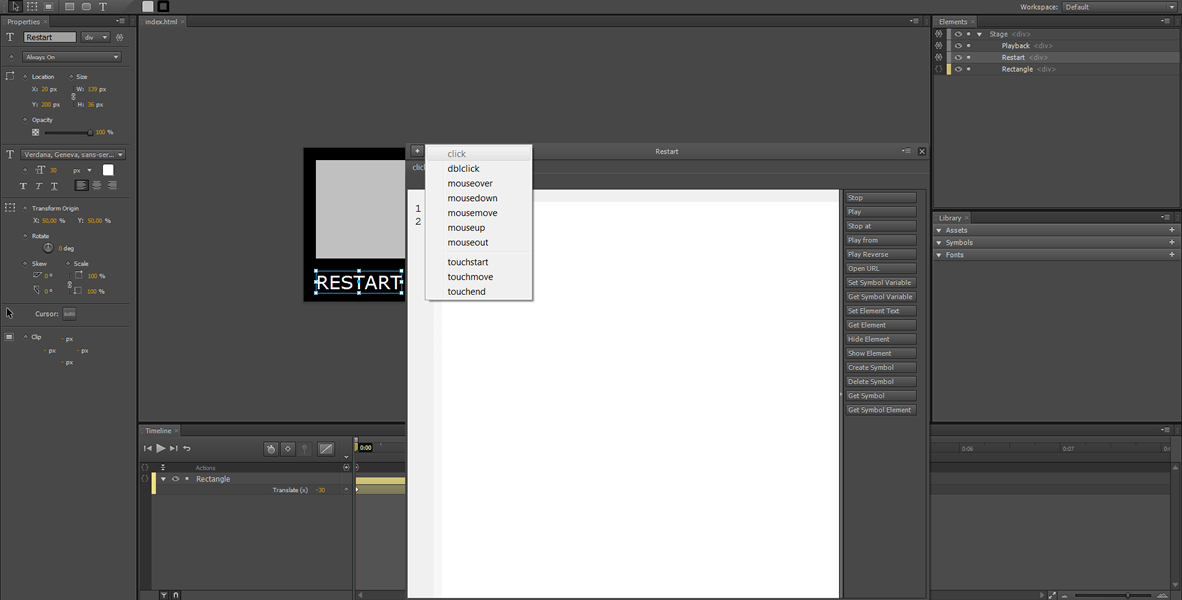 Adobe Edge Tutorial: Restart, Rewind and infinite Loop #2