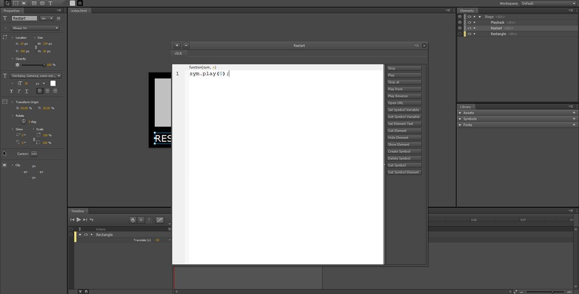 Adobe Edge Tutorial: Restart, Rewind e Loop infinito #3