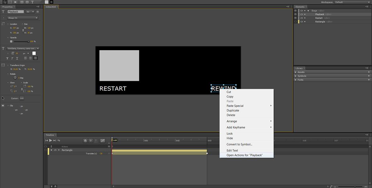 Adobe Edge Tutorial: Restart, Rewind e Loop infinito #4
