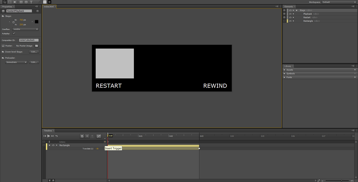 Adobe Edge Tutorial: Restart, Rewind and infinite Loop #7