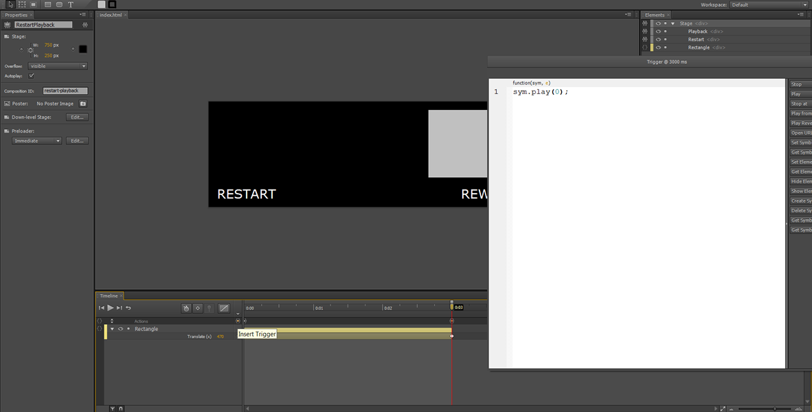 Adobe Edge Tutorial: Restart, Rewind and infinite Loop #8