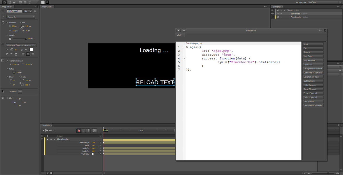 Adobe Edge Tutorial: contenuto dinamico utilizzando Ajax #3