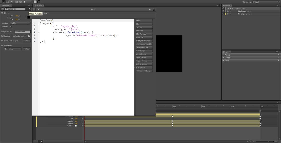 Adobe Edge Tutorial: contenuto dinamico utilizzando Ajax #4
