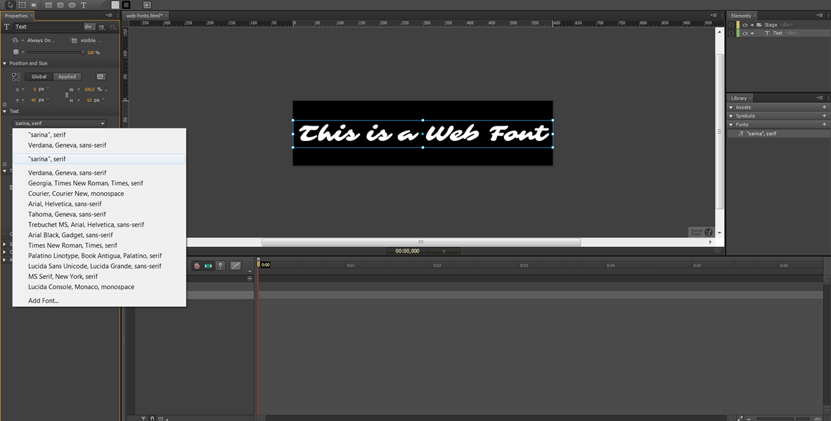 Web Font in Edge Animate - Edge Web Fonts #3