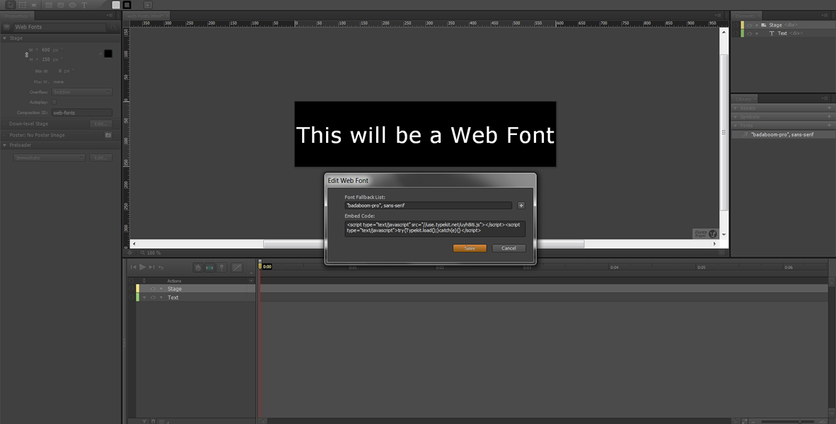 Web Fonts in Edge Animate – Typekit #3