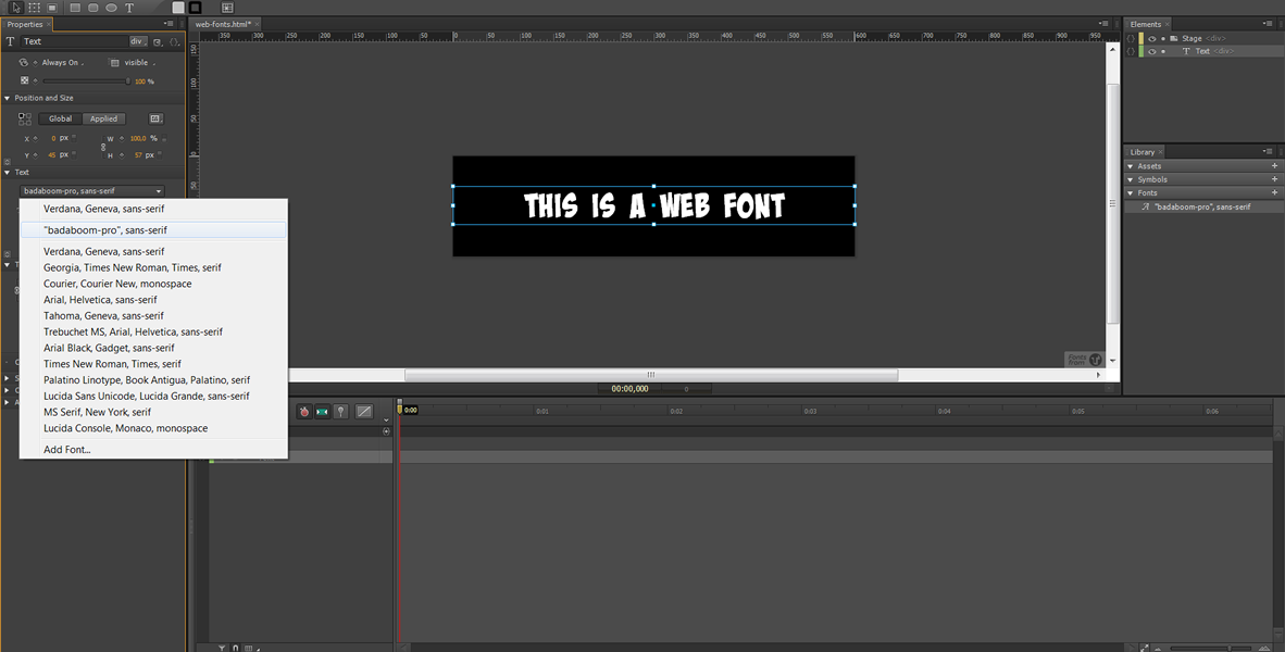 Web Fonts in Edge Animate - Typekit #4
